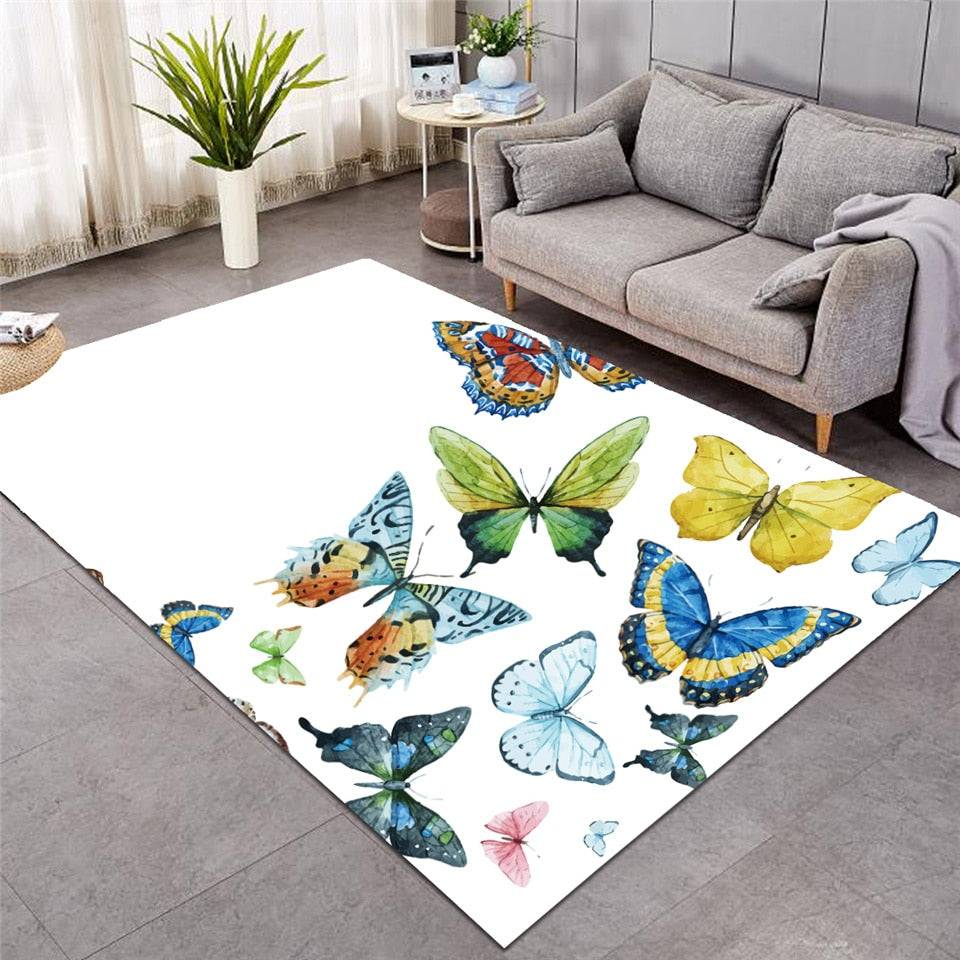 White Colorful Flying Butterflies Area Rug Floor Mat