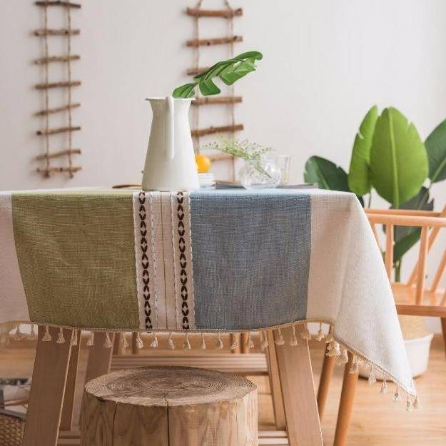 Blue / Green Ribbed Cotton Linen Tablecloth w/ Tassels