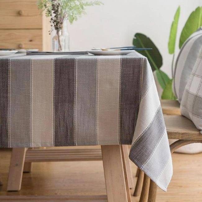 Contemporary Gray Striped Cotton Linen Tablecloth