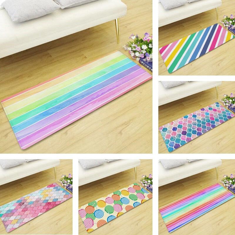 Multi-Color Rainbow Print Floor Runner Mat