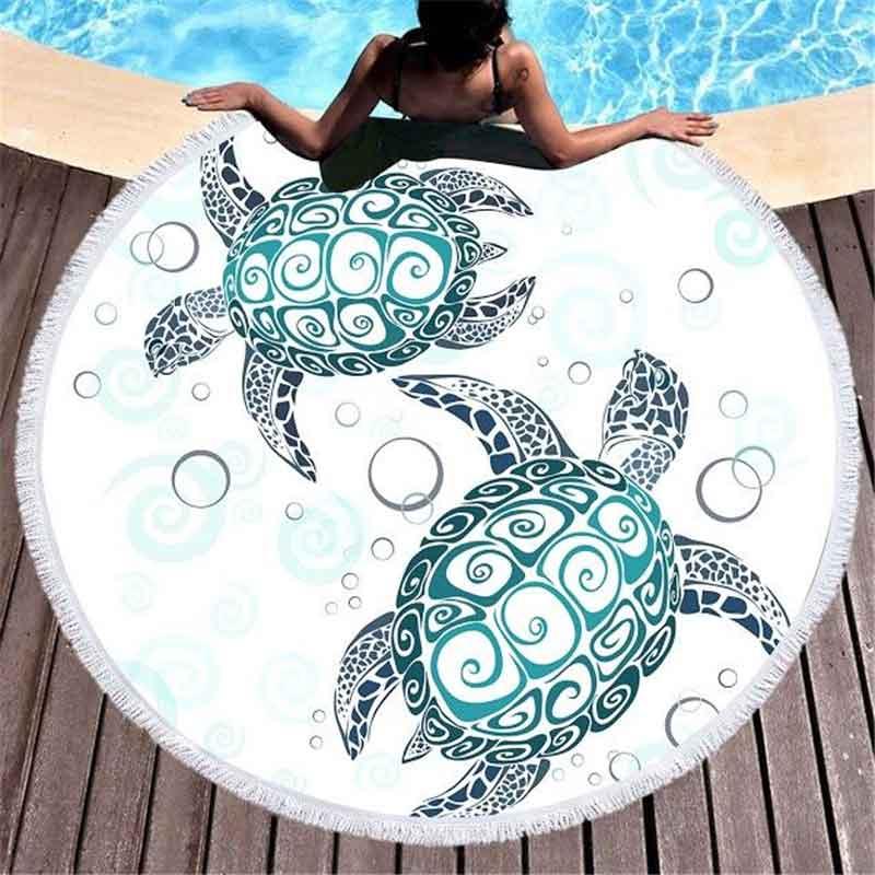 Round Native Pattern Sea Turtle Beach Towel