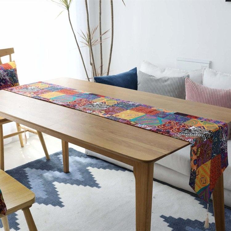 Multi-Color Bohemian Pattern Cotton Linen Table Runner