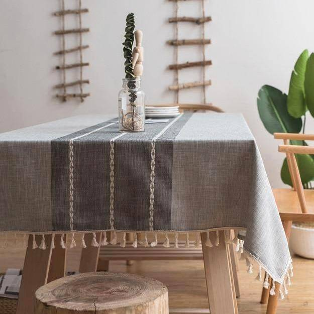 Gray Ribbed Cotton Linen Tablecloth w/ Tassels