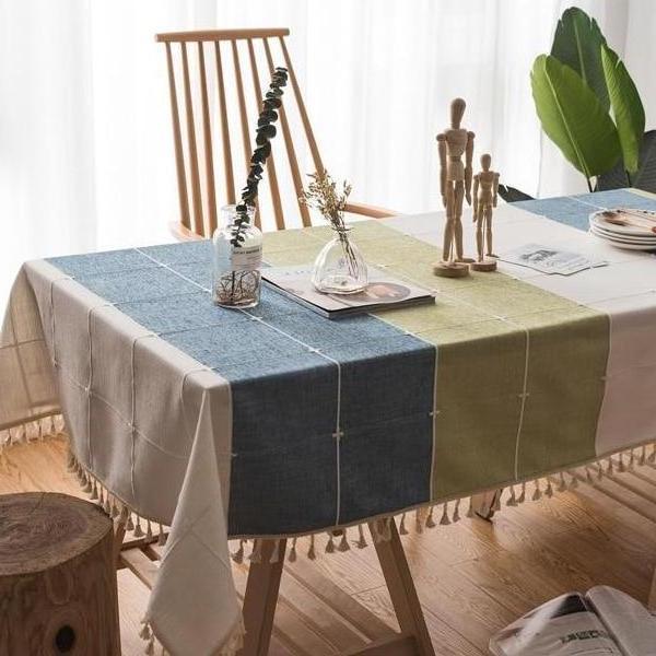 Blue / Green Grid Pattern Cotton Linen Tablecloth w/ Tassels