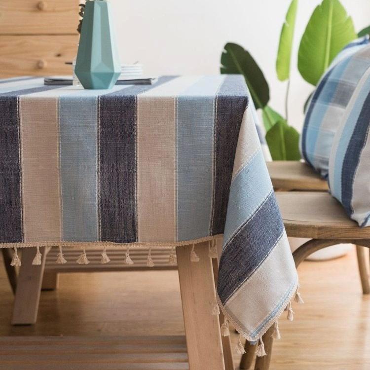 Blue Striped Cotton Linen Tablecloth w/ Tassels