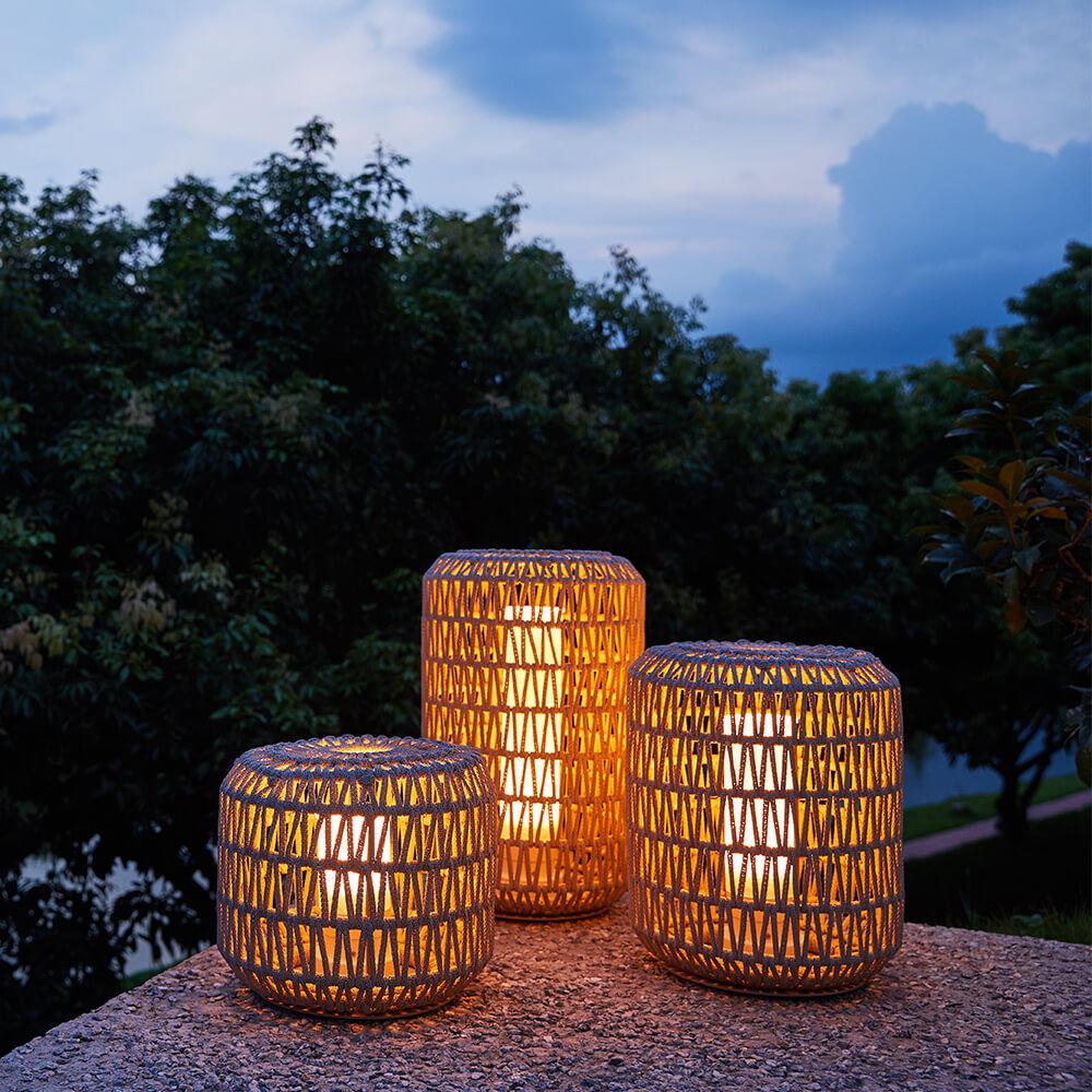 1 Nanton Outdoor Patio Wicker Lantern Set