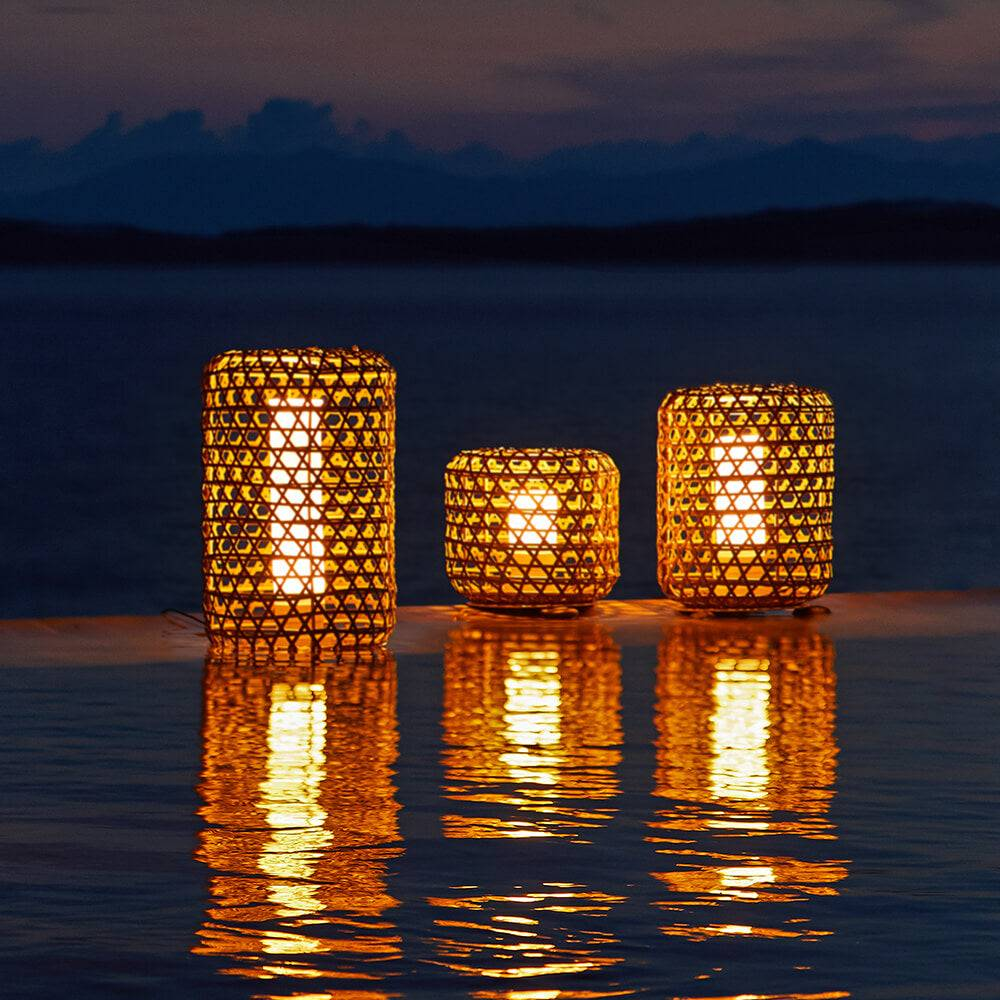 1 Bentall Outdoor Garden Wicker Lantern Set