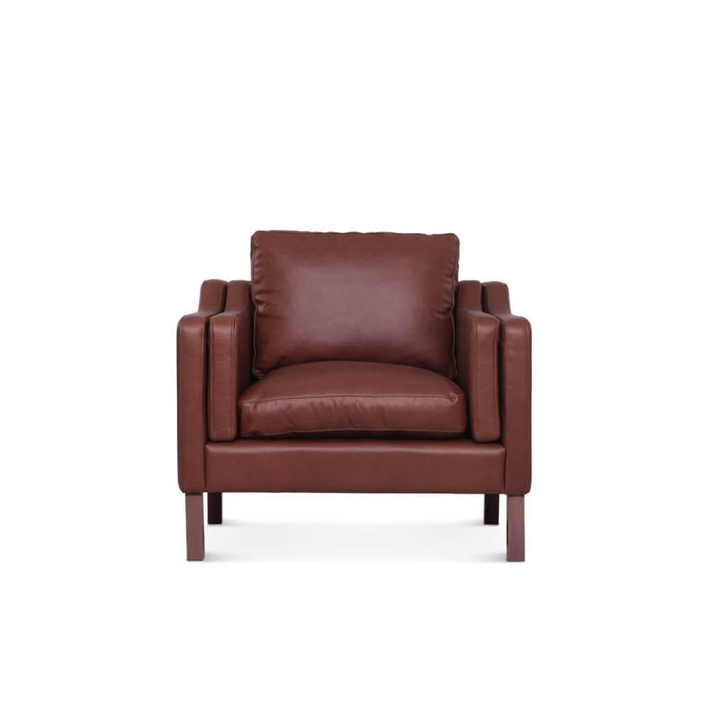 1 Borge Mogensen 2211 Armchair - Aniline Leather-Black / Black Stain