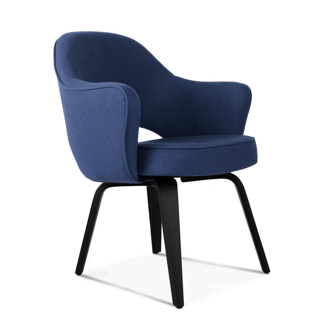 1 Saarinen Executive Armchair - Wood Legs - Classic Suede-Navy / Black Stain