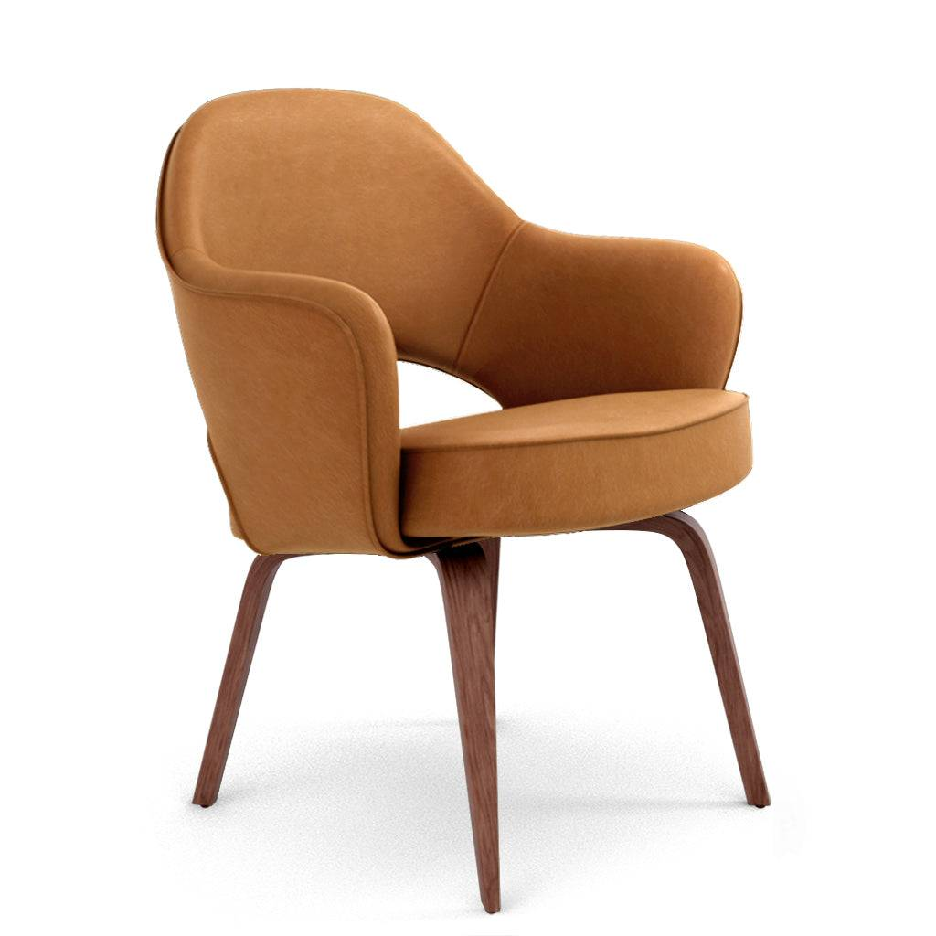 1 Saarinen Executive Leather Armchair - Wood Legs - Aniline Leather-Beige / Walnut Stain