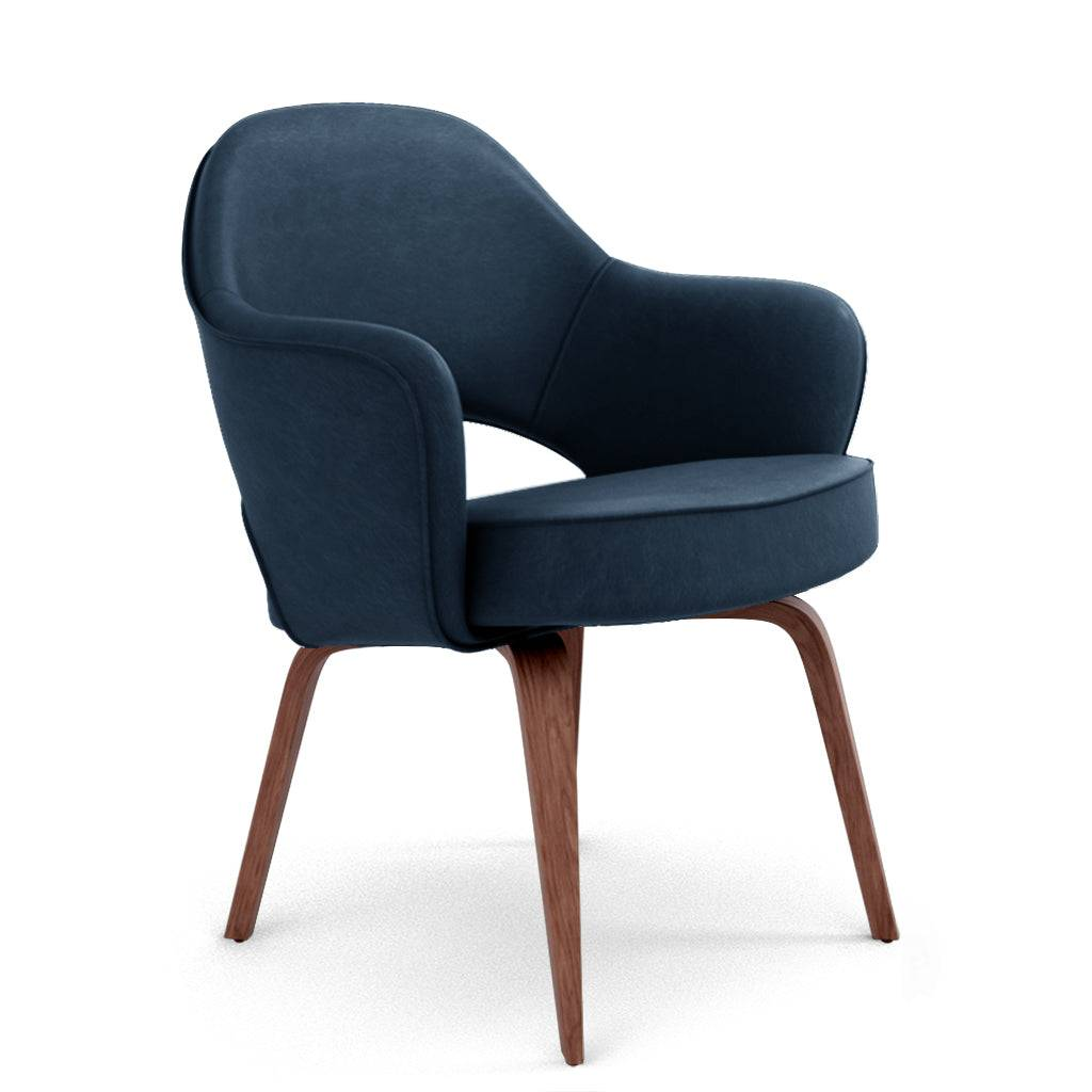 1 Saarinen Executive Leather Armchair - Wood Legs - Aniline Leather-Twilight Blue / Walnut Stain