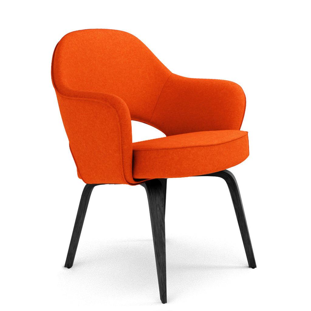 1 Saarinen Executive Armchair - Wood Legs - Cashmere-Spanish Orange / Black Stain