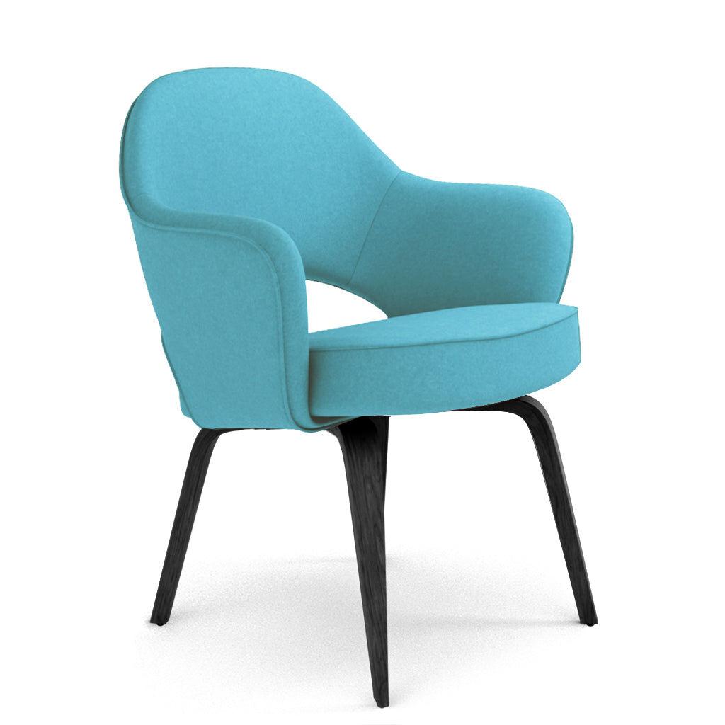 1 Saarinen Executive Armchair - Wood Legs - Cashmere-Tiffany Blue / Black Stain