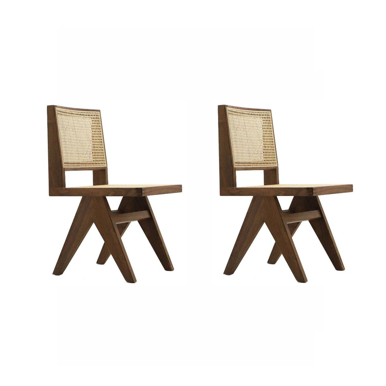 1 Set of Two Pierre Jeanneret Dining Chair - Oiled Walnut
