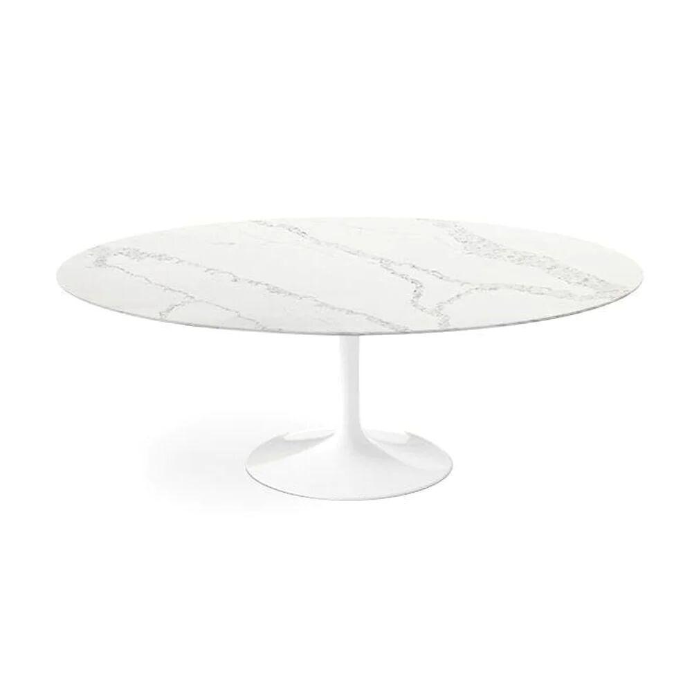 "1 Carrara Nuvo Calacatta Quartz© Tulip Dining Table - Oval - 67"" / Backorder"