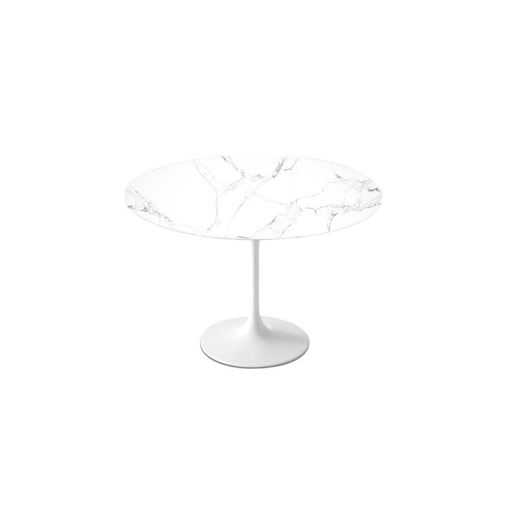 """1 Statuario Venato Calacatta Quartz© Tulip Dining Table - Round - 52"""" / Backorder"""