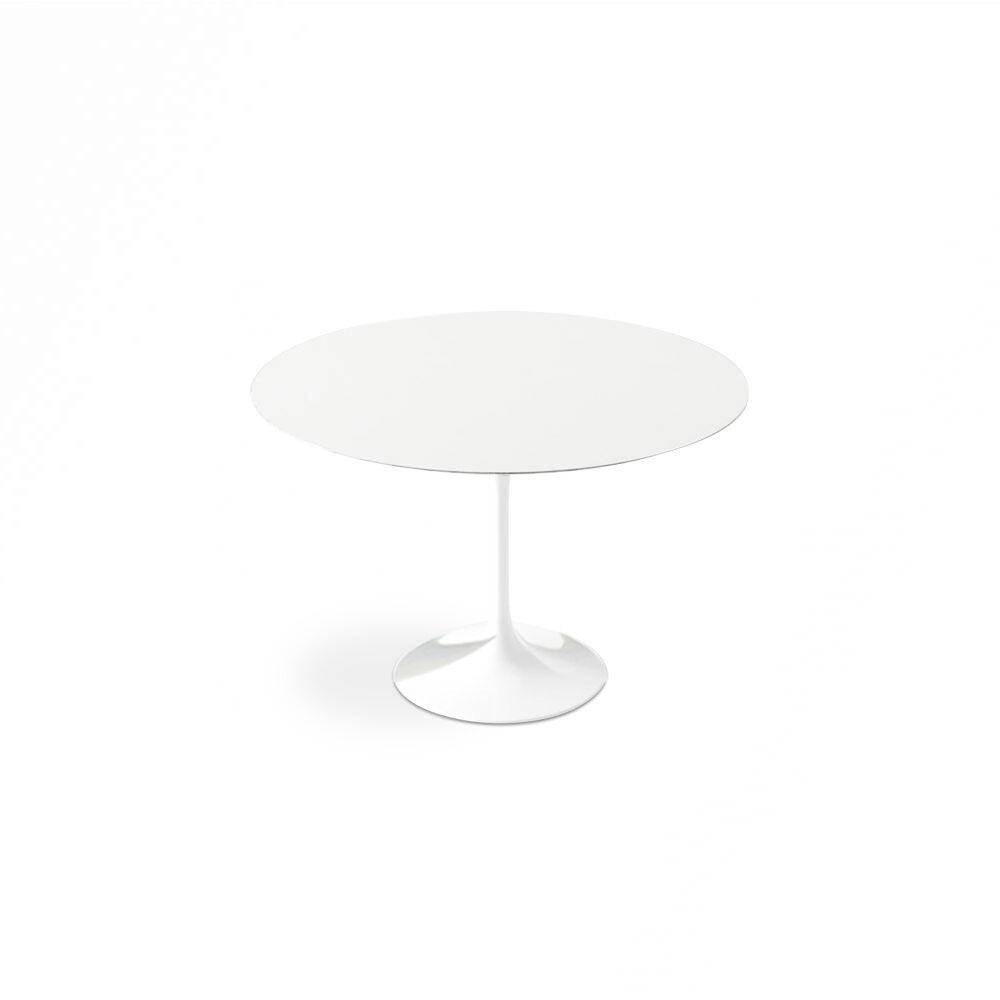 """1 White Lacquer Tulip Dining Table - Round - 52"""""""