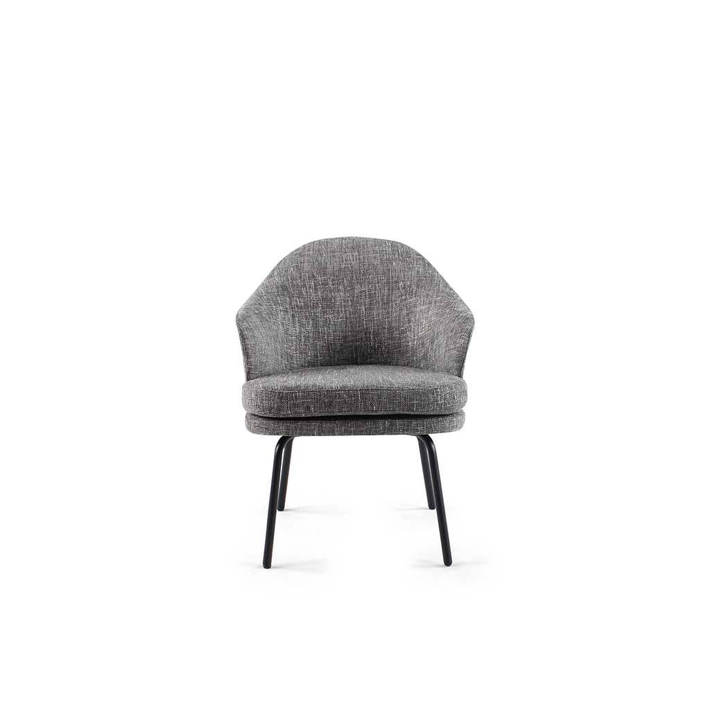 1 Angie Dining Chair - Boucle Wool-Charcoal Grey
