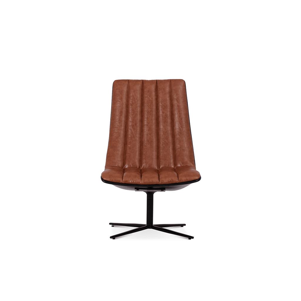 1 Healey Lounge Chair - Aniline Leather-Dark Brown