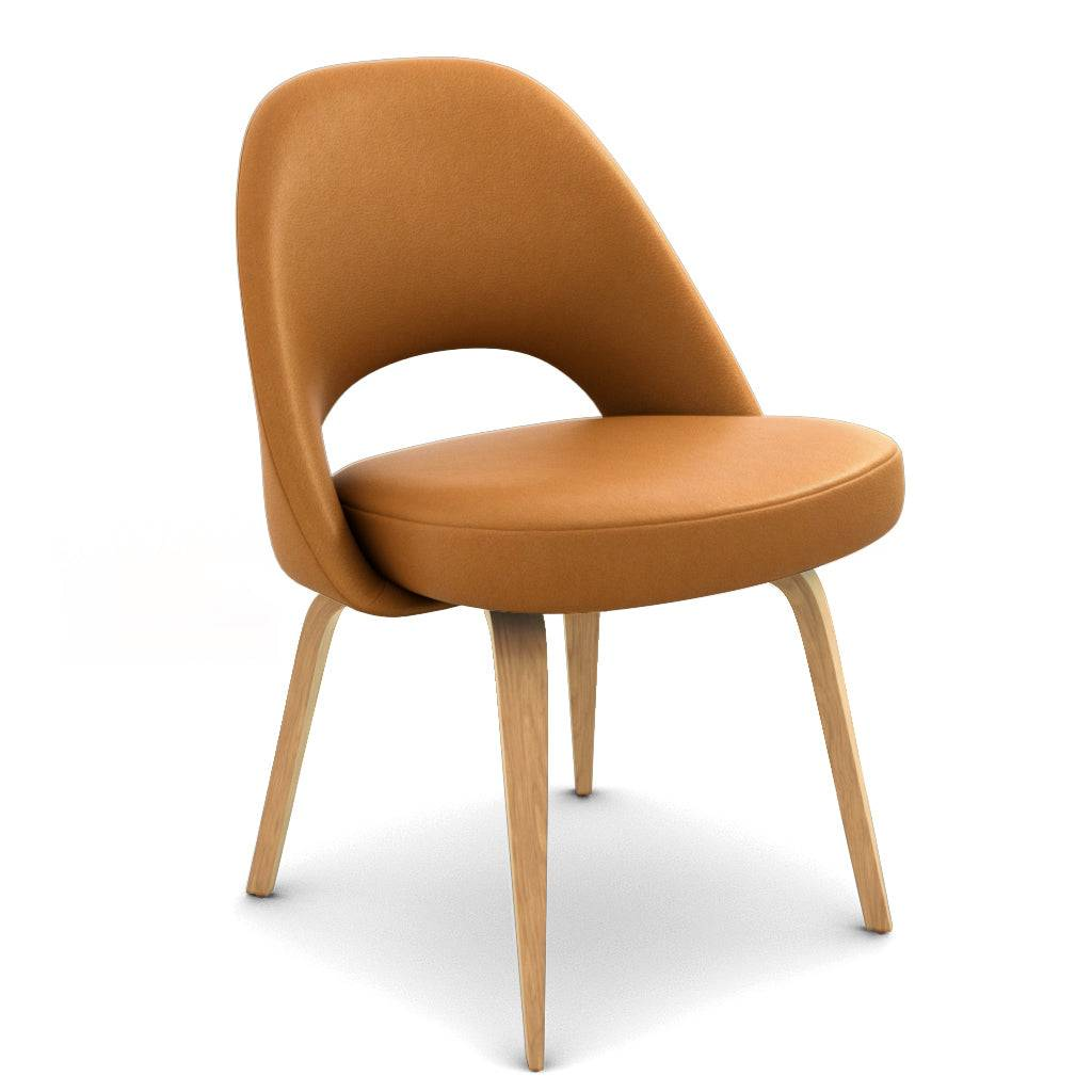 1 Saarinen Executive Leather Side Chair - Wood Legs - Aniline Leather-Beige / Natural Ash