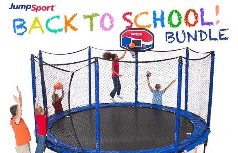 PowerBounce 14' Trampoline, Basketball Hoop & Ladder Bundle