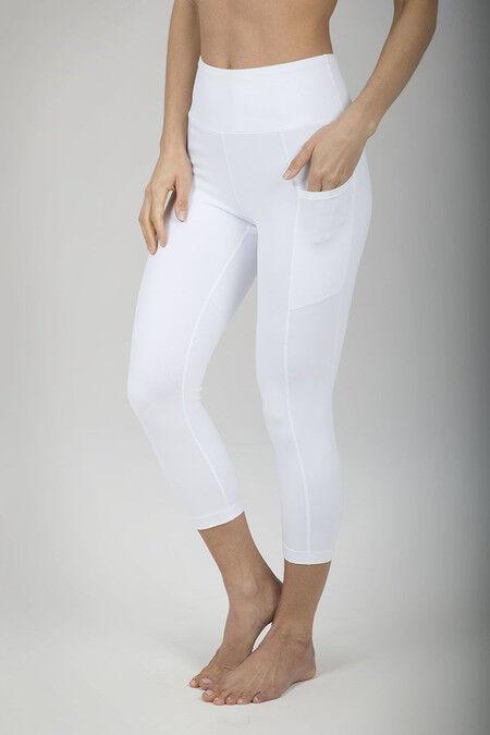 KiraGrace Ultra High Waist Pocket Yoga Capri (White) - L (12-14)