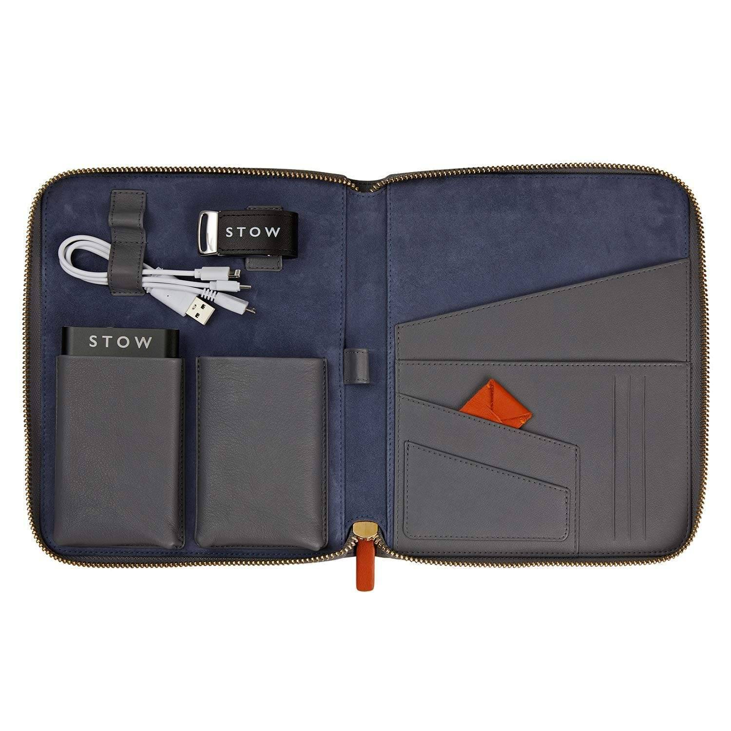 STOW First Class Leather Tech Case - Personalized
