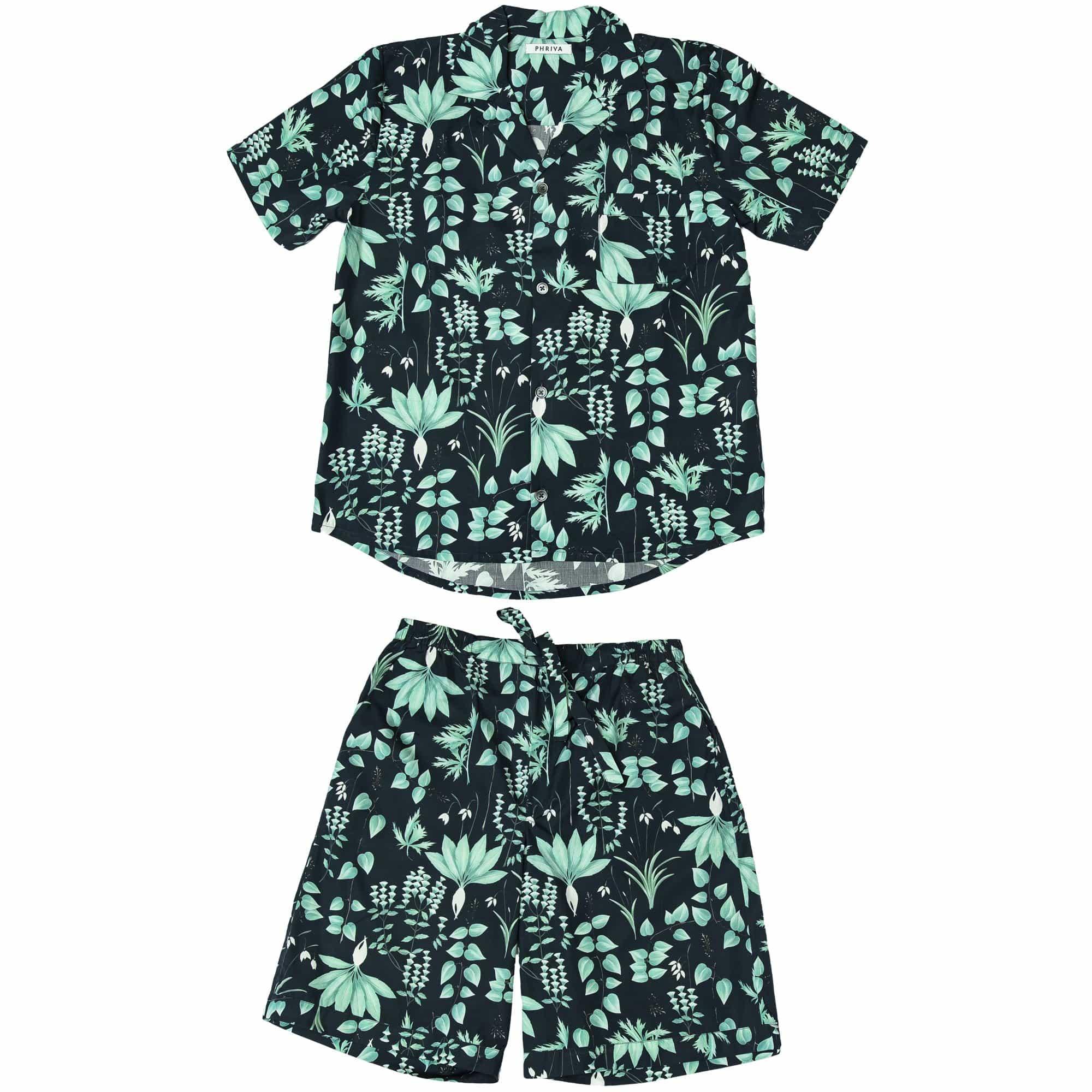 Phriya Men's Navy Blue Circe's Garden Short Pajama Set  - multicolor - Size: One Size