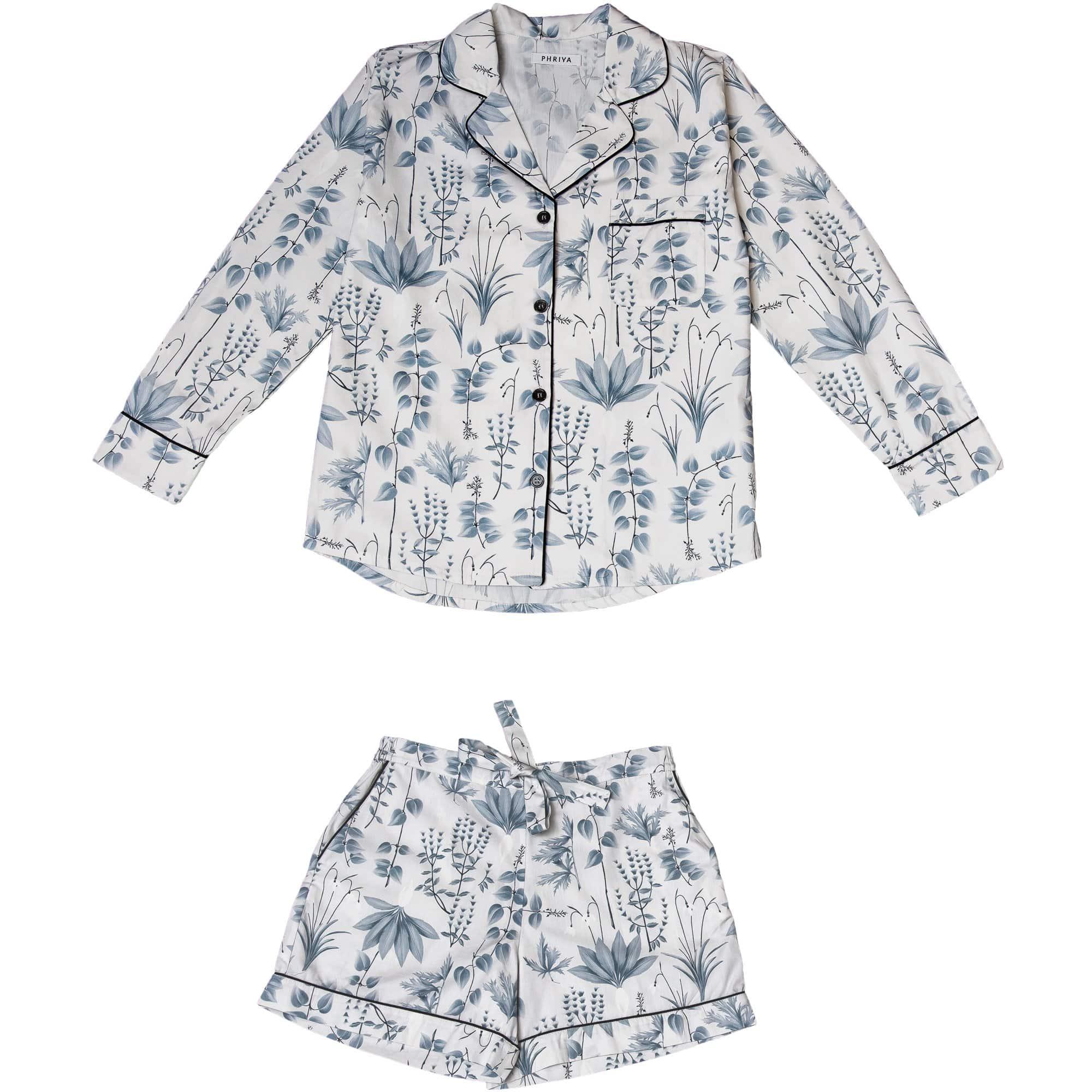 Phriya Women's Gray Circe's Garden Pajama Set With Shorts  - multicolor - Size: One Size