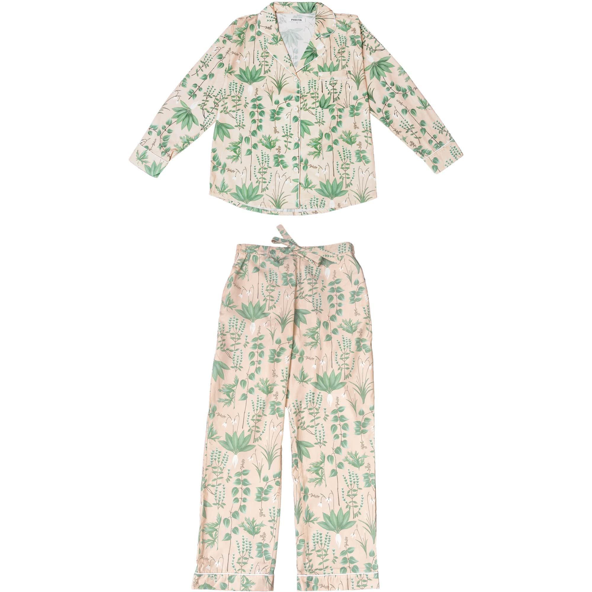 Phriya Women's Pink Circe's Garden Long Pajama Set  - multicolor - Size: One Size