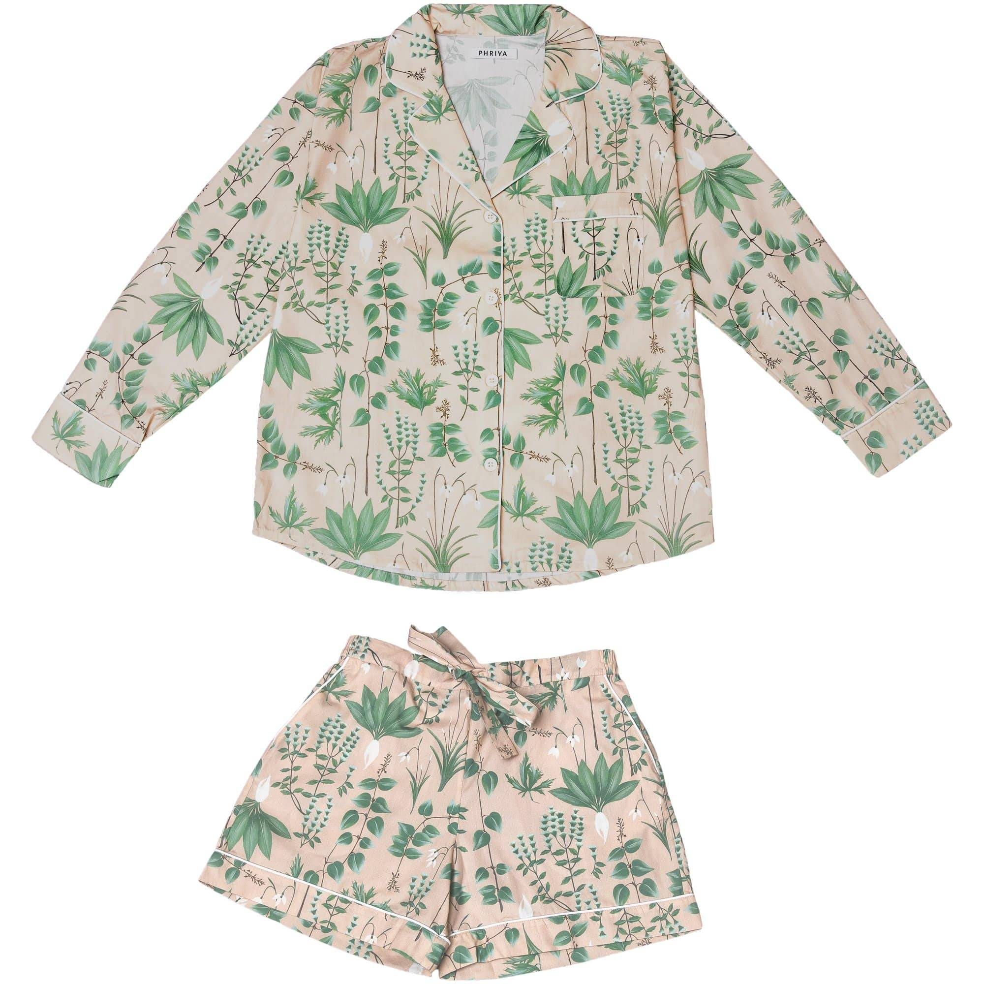 Phriya Women's Pink Circe's Garden Pajama Set With Shorts  - multicolor - Size: One Size