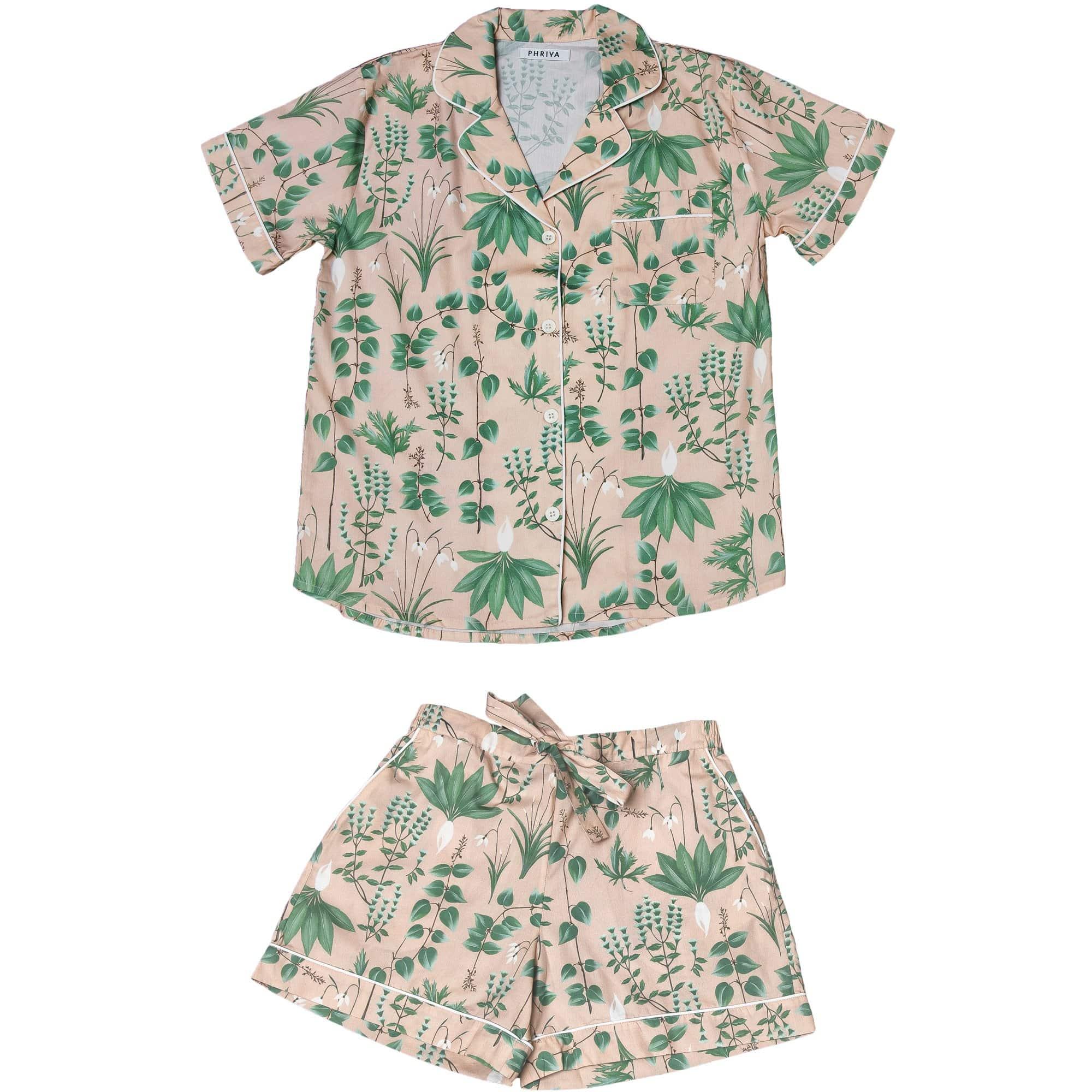 Phriya Women's Pink Circe's Garden Short Pajama Set  - multicolor - Size: One Size