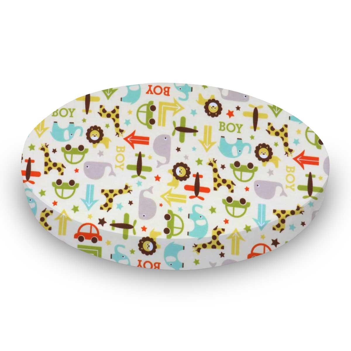 Sheetworld.com Round Crib - Cars & Animals Cream - 42`` Fitted