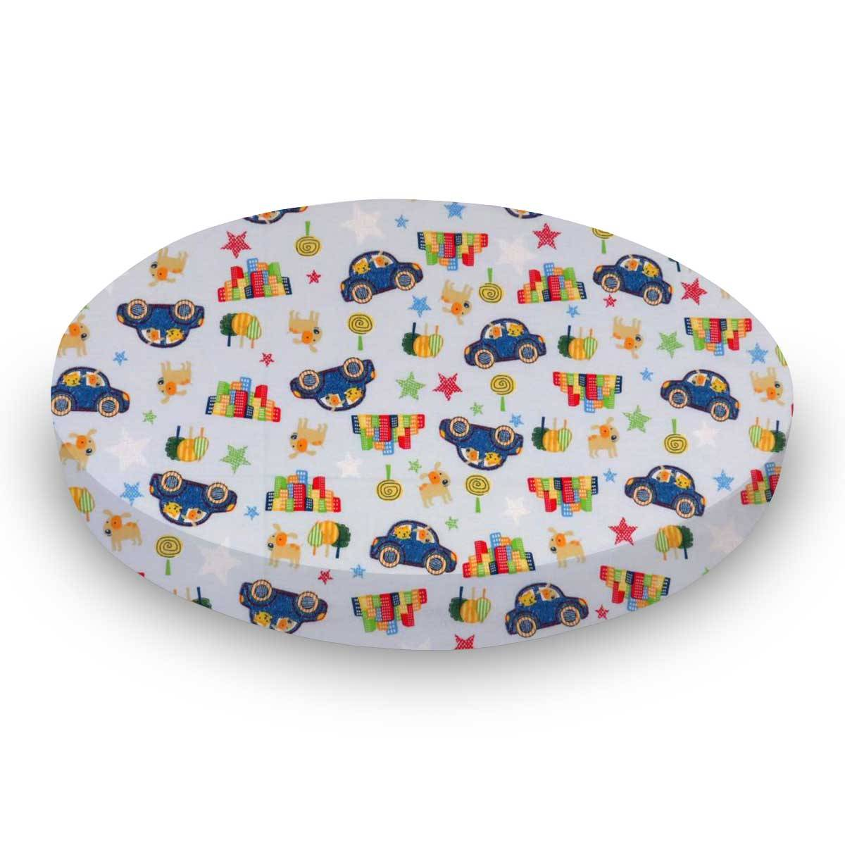 Sheetworld.com Round Crib - Cars & Dogs - 42`` Fitted