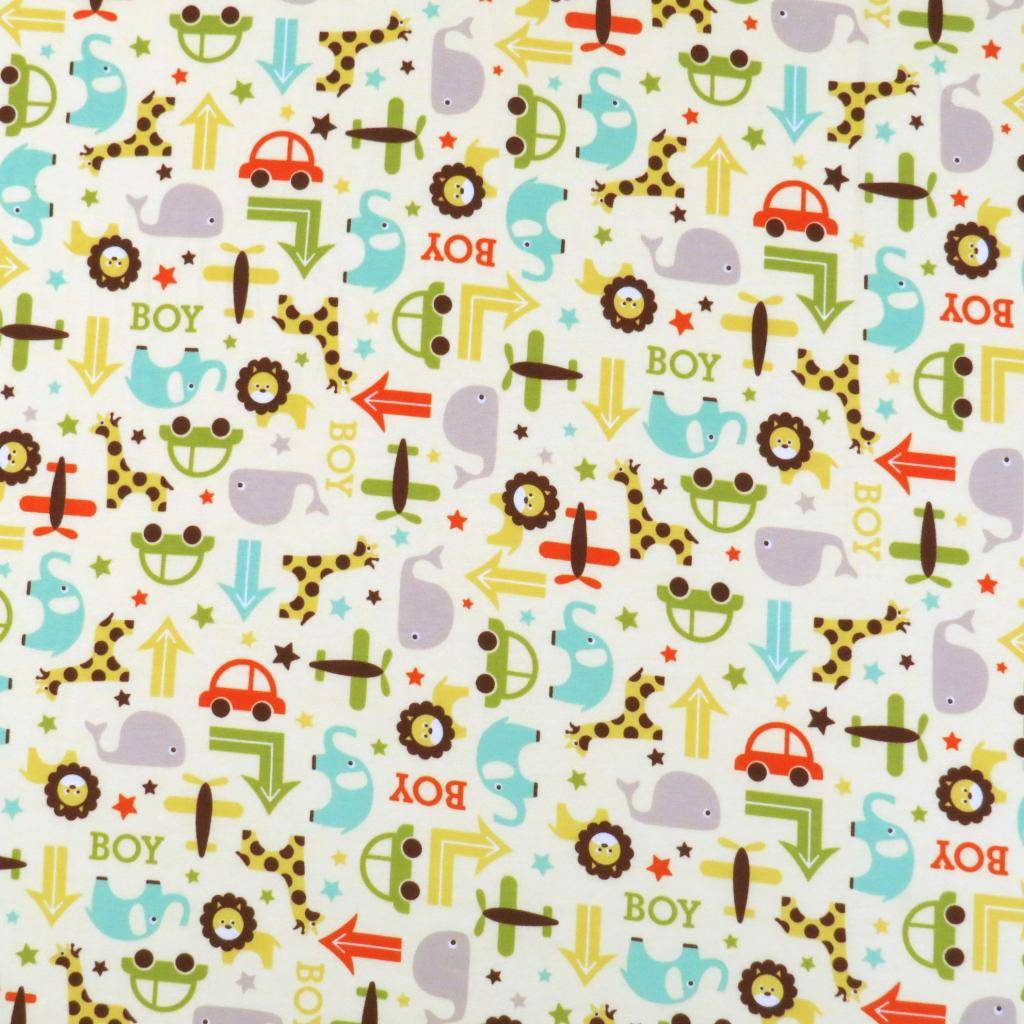 Sheetworld.com Crib / Toddler - Cars & Animals Cream - Flat