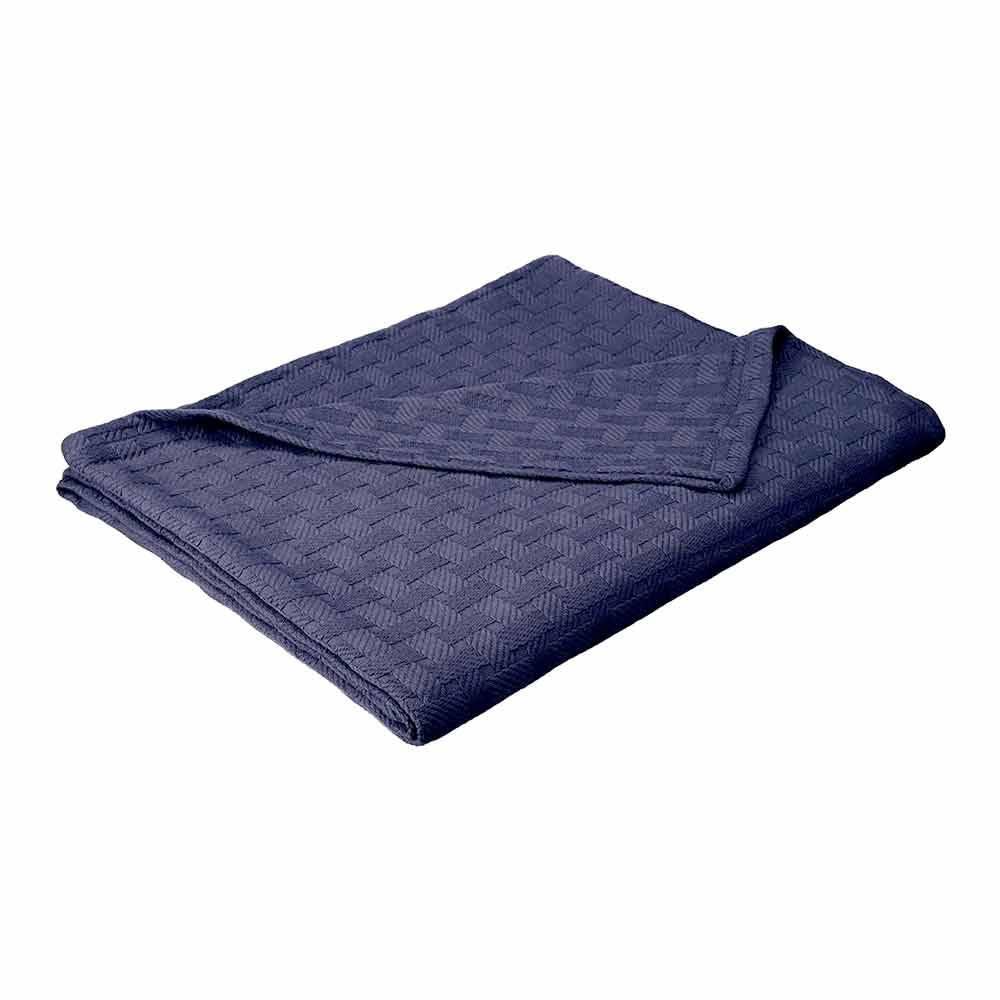 eLuxury 100% Cotton All Season Luxury Basket Weave Blanket