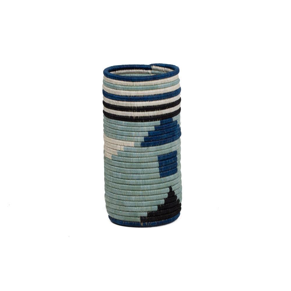 Jennifer Adams® Standard Silver Blue Abstract Vase by Jennifer Adams®