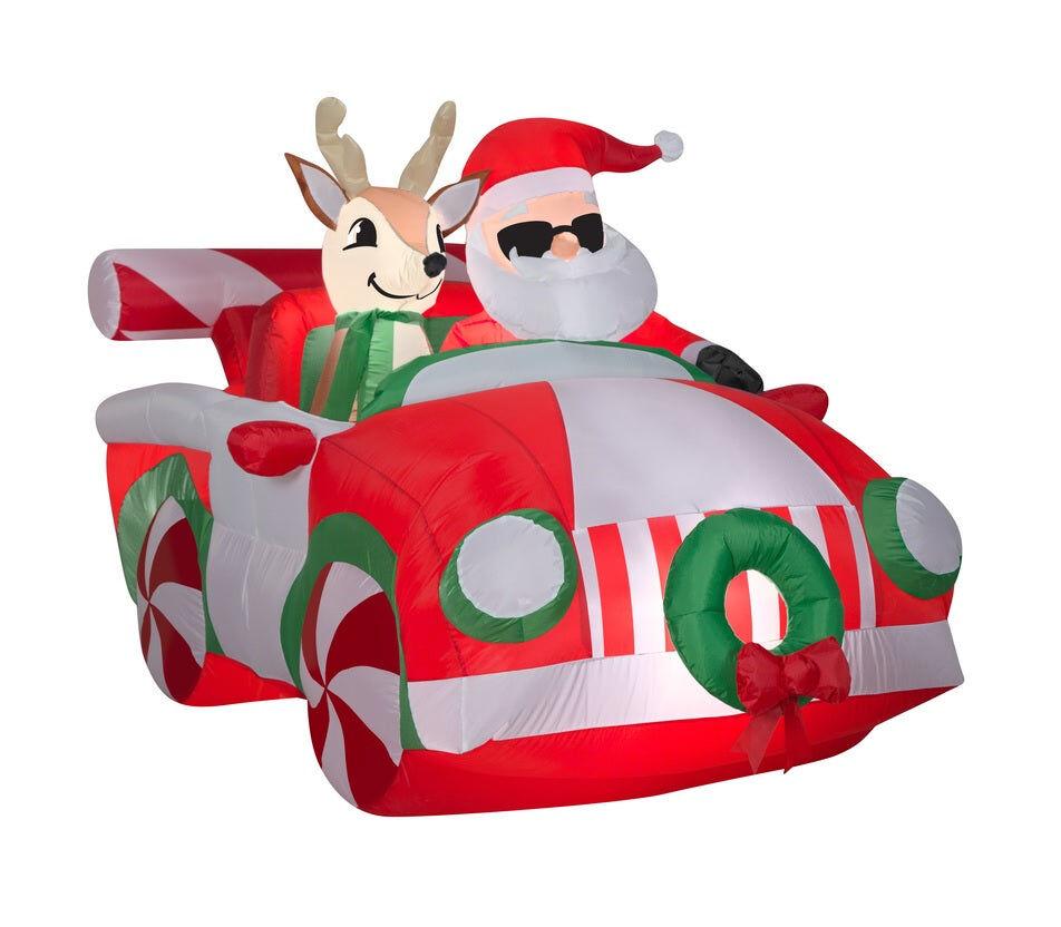 "Gemmy 116538 Inflatable Christmas Santa Reindeer Car Airblown, 48.03"" H"