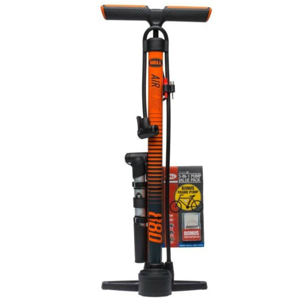 Bell Sports 7090858 Air Glide 880 Foot Pump For Bicycle Tires, 160 Psi