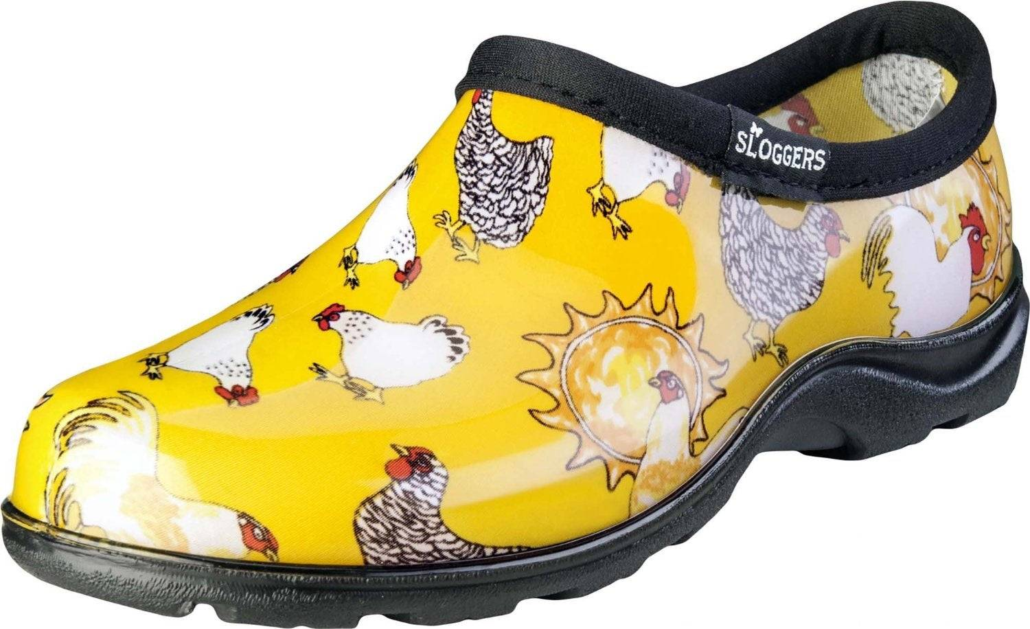 Sloggers 5116cdy10 Chicken Print Collection Women's Rain & Garden Shoe, Size 10, Daffodil Yellow