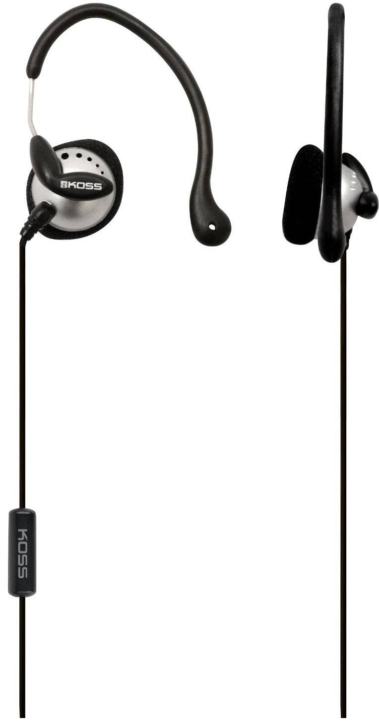 Koss Ksc22i Sport Clip Headphones With Microphone, Black/silver