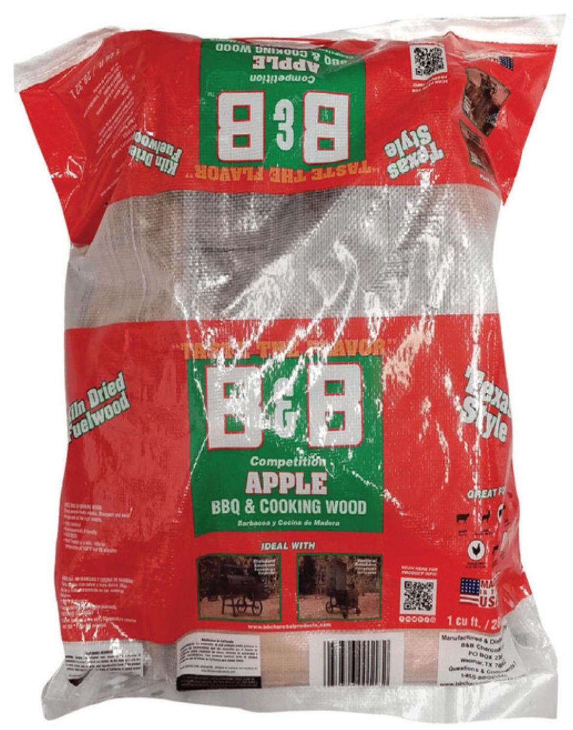 B & B Charcoal 00118 Apple Grill Wood Cooking Logs, 1 Cubic Feet