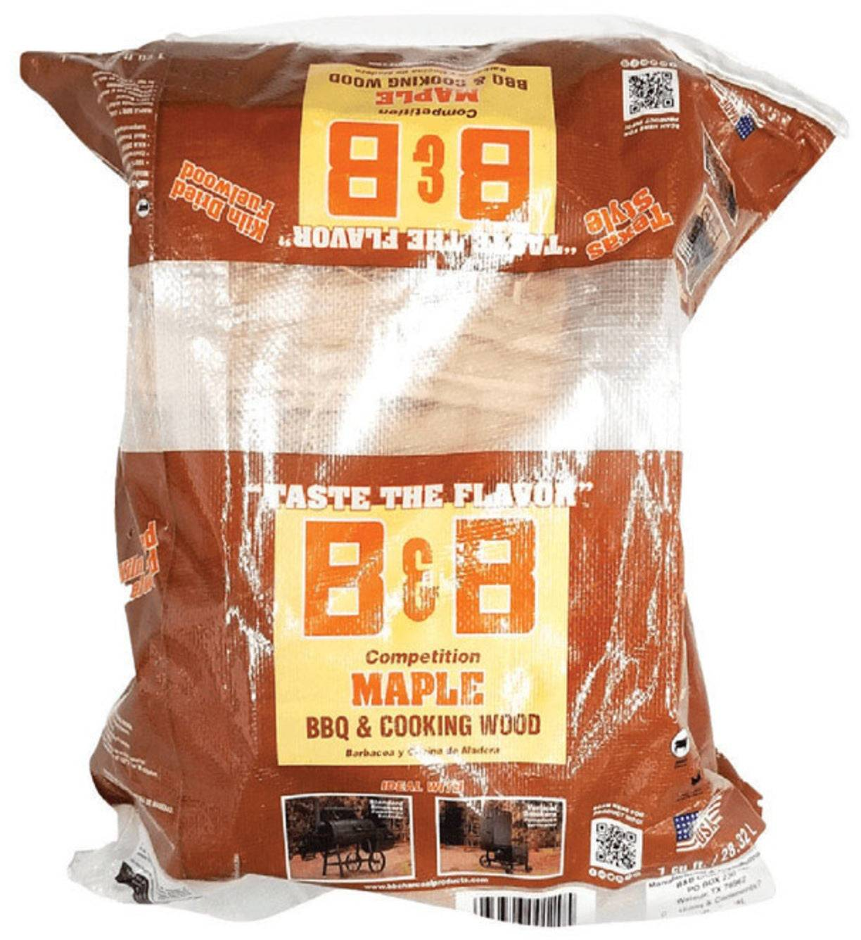 B & B Charcoal 00120 Grill Wood Maple Cooking Logs, 1 Cubic Feet