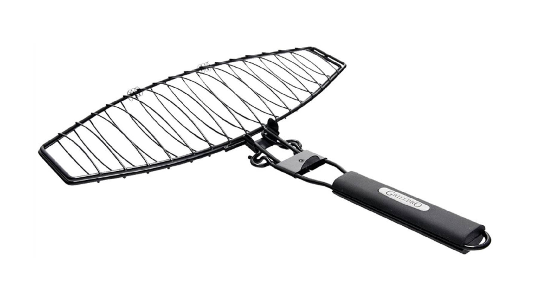 Grill Pro 21015 Non-stick Large Fish Basket, Chrome Plated, Steel, 16-3/4 Inch
