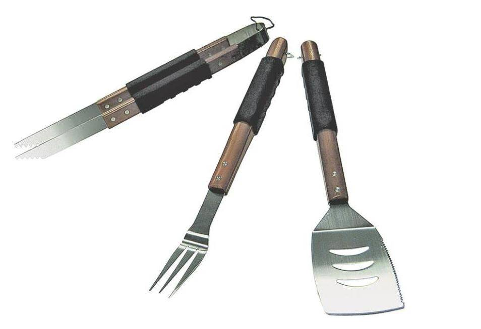 Grill Pro 40110 Wooden Handle Barbecue Tool Set, 3 Piece