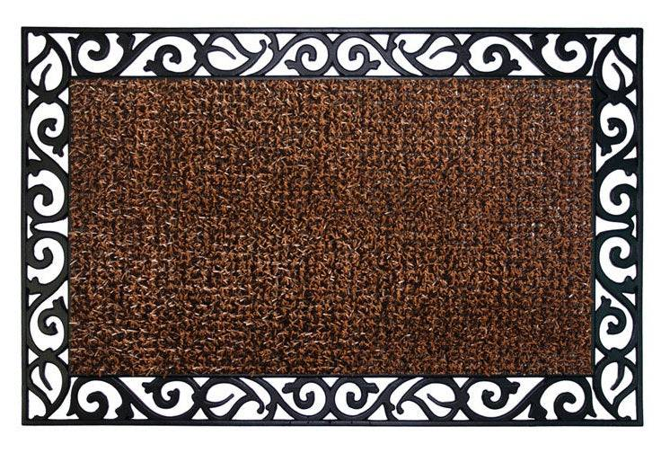 Grassworx 10376396 Wrought Iron Stems And Leaves Style Doormat, Coffee Bean