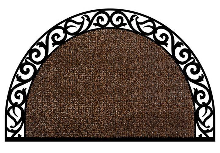 Grassworx 10374072 Wrought Iron Style Halfmoon Doormat, Coffee Bean