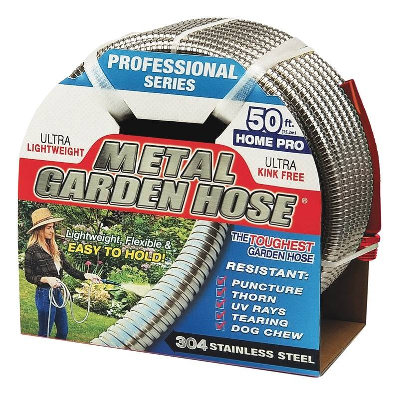 Swan Cacmh12050 Professional Garden Hose, Stainless Steel, Silver, 50' L