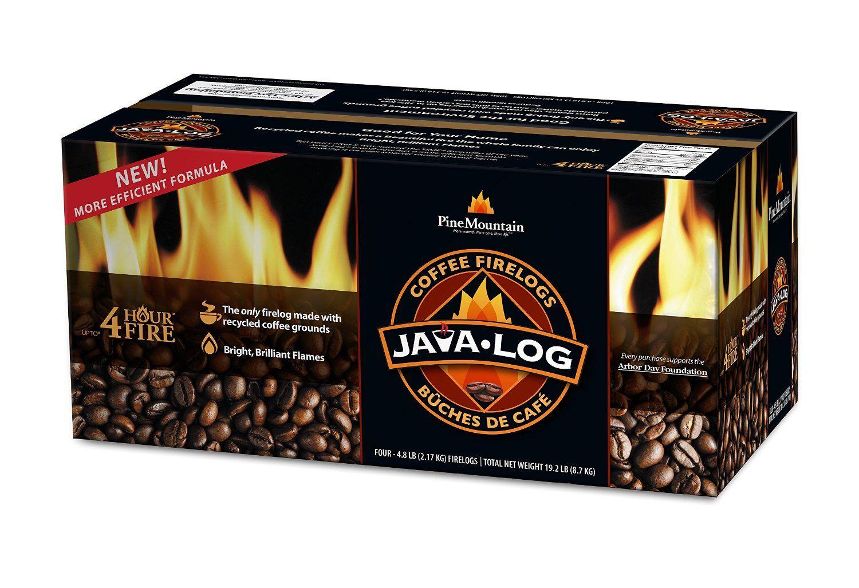 Pine Mountain Java-log 4152501471 Coffee Firelog, Case Of 4, 4.8 Lbs