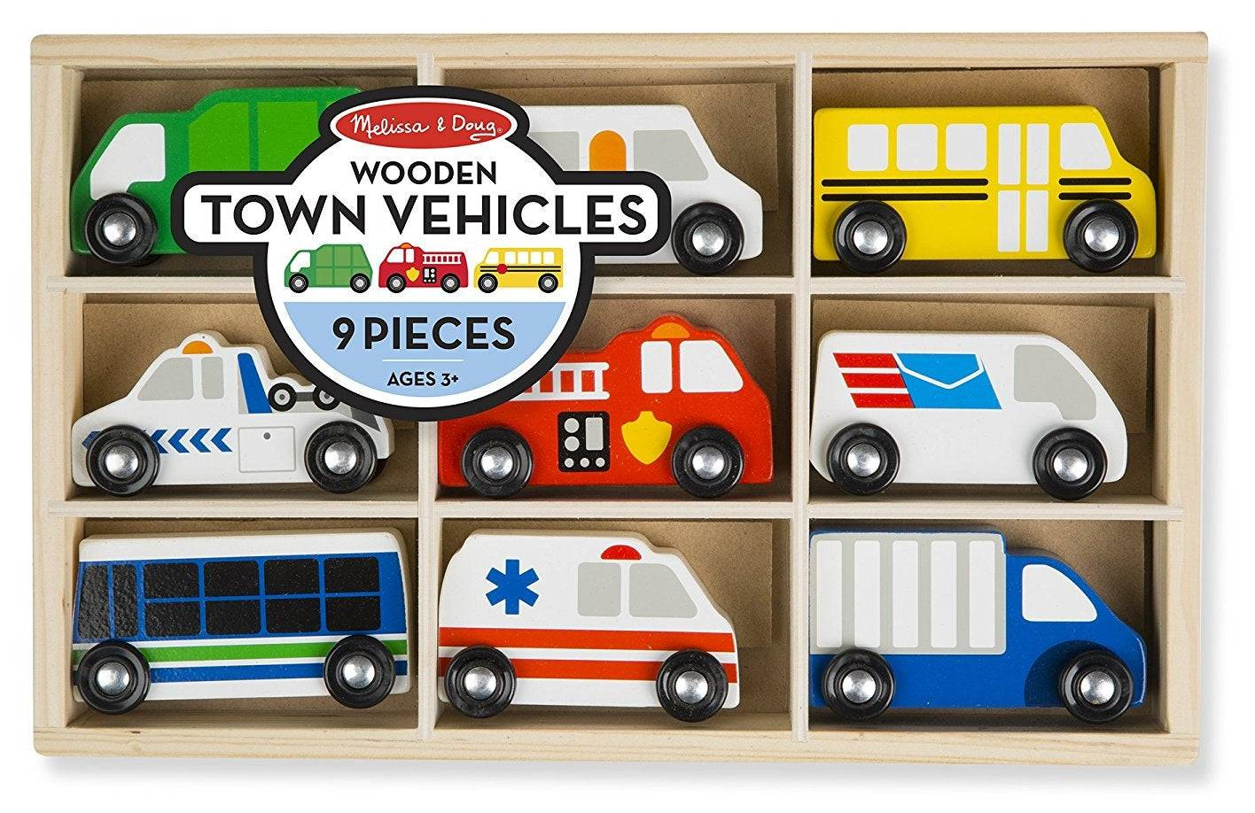 Melissa & Doug 3170 Wooden Town Vehicles Set, Assorted Color